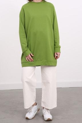 Ekrumoda Kadın Fıstık Yeşili Reglan Kol Basic Sweat Tunik 1