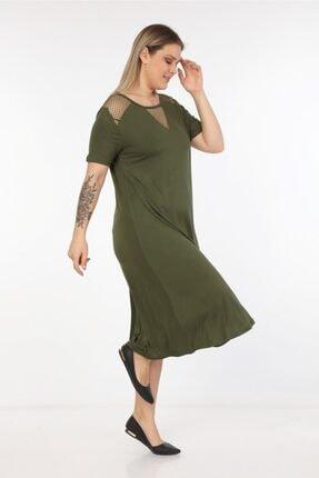 Womenice Kadın Haki Omuzları Önü Fileli Büyük Beden Elbise 3