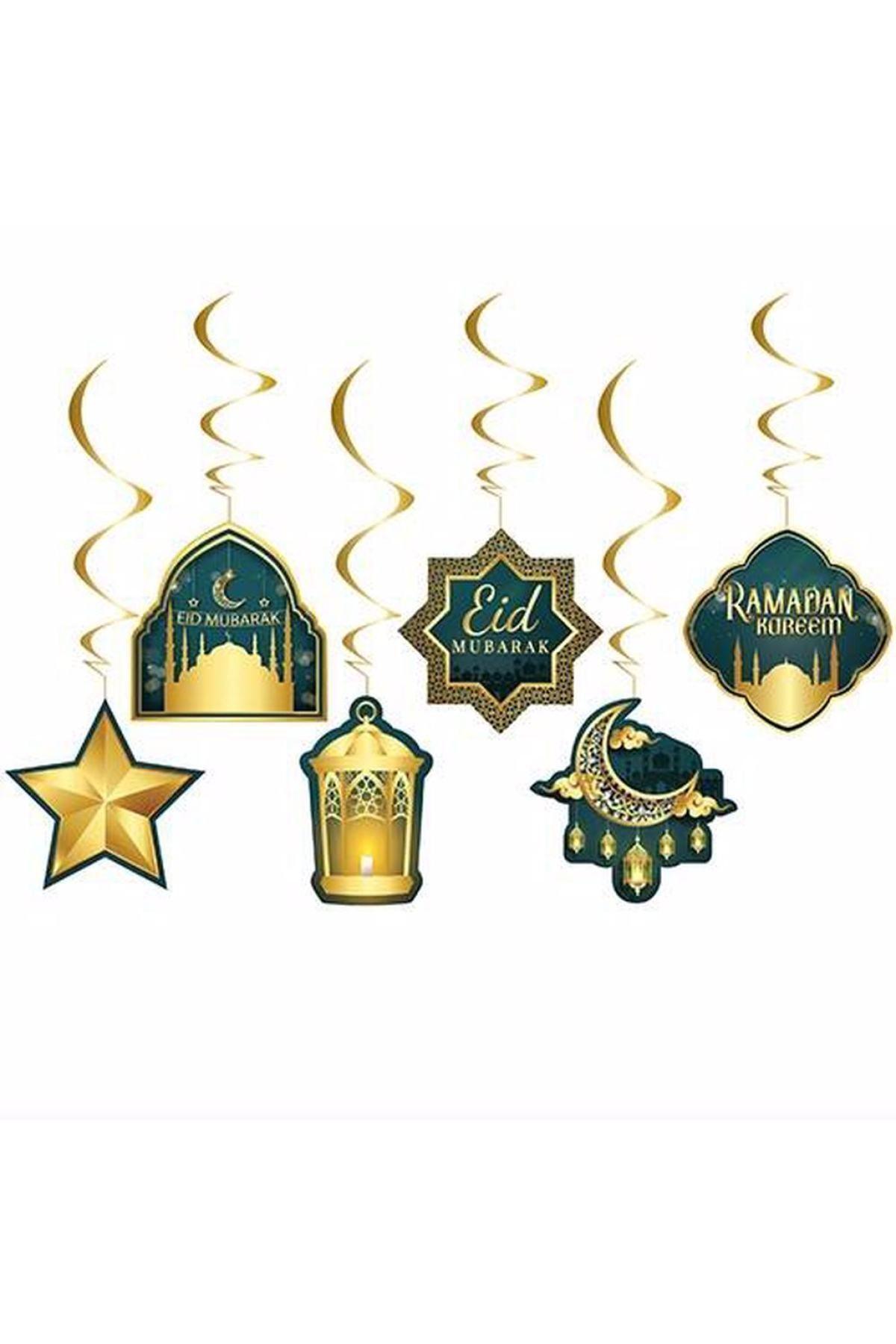 6'lı Tavan Süs Eid Mubarak Ramadan Kareem Temalı Sarkıt English İngilizce Dini İslami Süsü