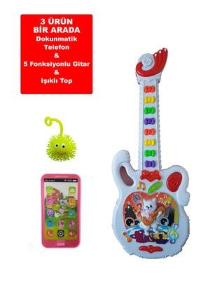 Can Ali Toys 3 Ürün Bir Arada Işıklı Sesli  Gitar Işıklı Sesli Dokunmatik Telefon Set40 cm 1