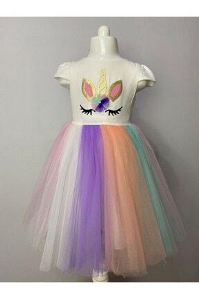 Buse&Eylül Bebe Kız Çocuk  Ekru Unicorn Taçlı Parti Elbisesi 2