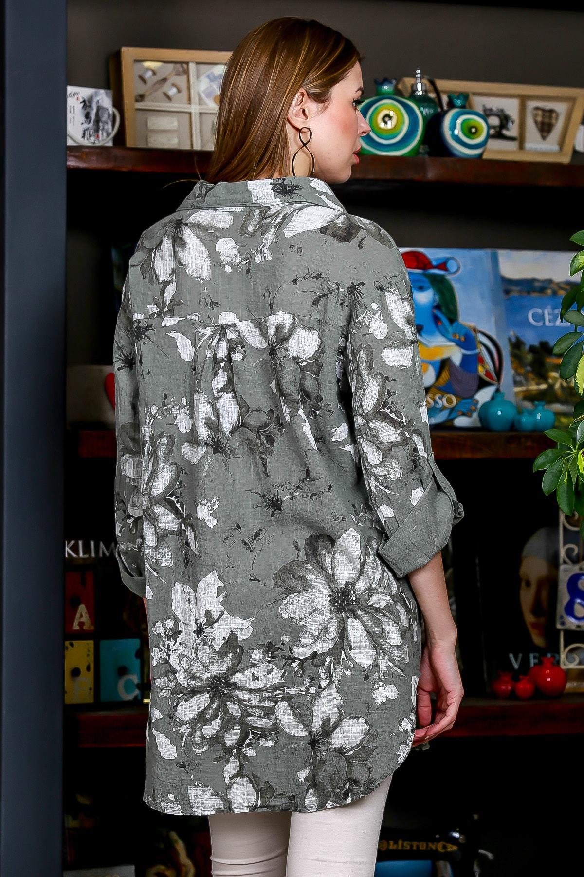 Chiccy Kadın Yeşil İtalyan Çiçek Desenli 3/4 Kol Ayarlı Yanı Yırtmaçlı Tunik Gömlek M10010400GM99439 4