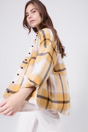 Pattaya Kadın Hardal Boyfriend Kareli Oduncu Gömlek P20W-3325 2