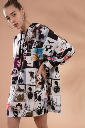 Pattaya Kadın Baskılı Oversize Sweatshirt Elbise P20w-4129 1