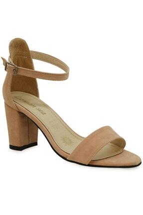 Kadın Pudra Rengi Süet Topuklu Ayakkabı MODAMELA0K020