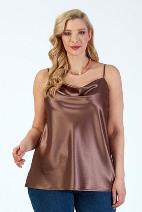 Büyük Moda Kadın Vizon İp Askılı Degaje Yaka Askılı Bluz 3