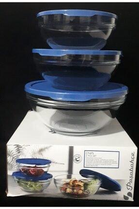 Paşabahçe Cam Chefs 3lü Kase Saklama Kabı Mavi Kapak 1