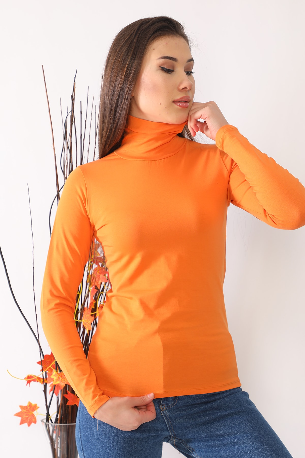 Kadın Turuncu Uzun Kollu Tam Boğazlı Badi