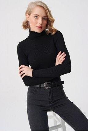 butikburuç Kadın Siyah Balıkçı Yünlü Triko Bluz 2