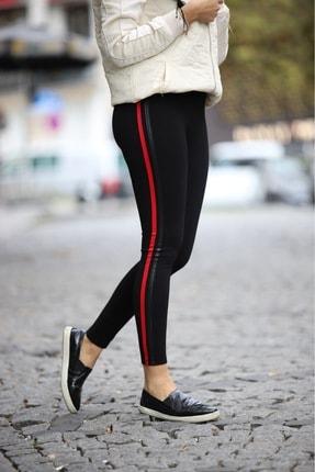 Grenj Fashion Siyah Yanı Kırmızı Ve Deri Biyeli Yüksek Bel Toparlayıcı Tayt 2