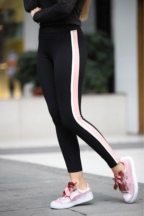 Grenj Fashion Siyah Yanı Pembe Beyaz Şeritli Yüksek Bel Toparlayıcı Tayt 0