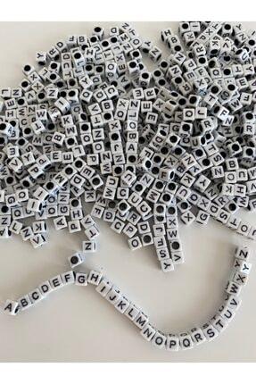 Hedef Bijuteri 6mm Beyaz Fon Üzeri Siyah Küp Harf Boncuk,alfabe Mektup Harf Boncuk ((100gr,~800 Adet) 1