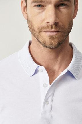 Altınyıldız Classics Erkek Beyaz Polo Yaka Cepsiz Slim Fit Dar Kesim %100 Koton Düz Tişört 3