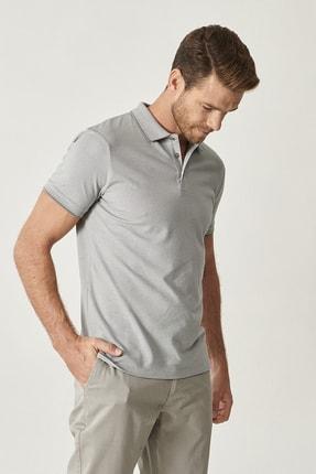 Altınyıldız Classics Erkek Gri Düğmeli Polo Yaka Cepsiz Slim Fit Dar Kesim Düz Tişört 2