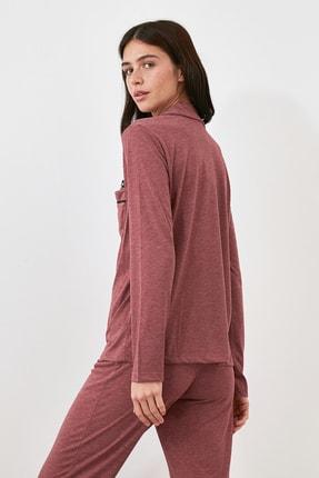 TRENDYOLMİLLA Bordo Panda Baskılı Örme Pijama Takımı THMAW21PT0245 4