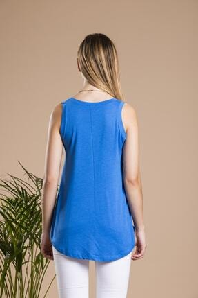 SHIEBA Kadın Mavi V Yaka Bol Kesim Salaş Balon T-shirt 2
