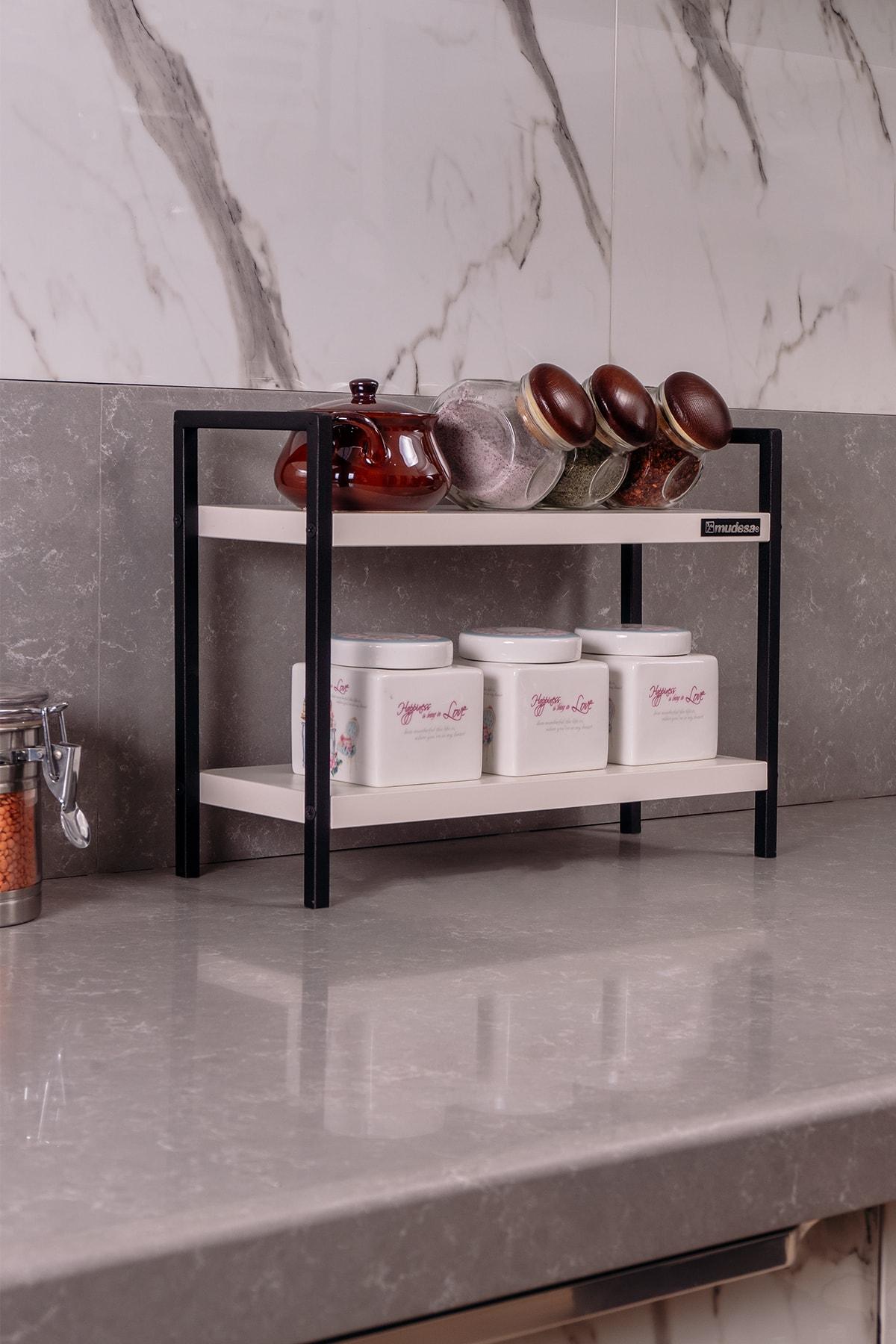 Masaüstü Mutfak-banyo Rafı Tezgah Üstü Düzenleyici Baharatlık Raf Metal-ahşap Masa Üstü Servis Rafı