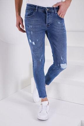 Jenalli Erkek Düz Eskitme Mavi Dar Paça Likralı Skinny Fit Jean 1