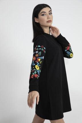 VAPUR TEKSTİL Kadın Siyah Kolları Çiçek Detaylı Tunik 3