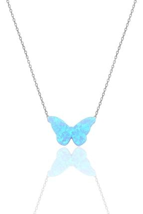Söğütlü Silver Gümüş Rodyumlu Opal Taşlı Kelebek Kolye 0