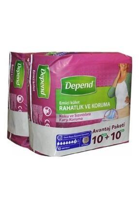 Depend Kadın Emici Orta Külot 10+10 Paket 0