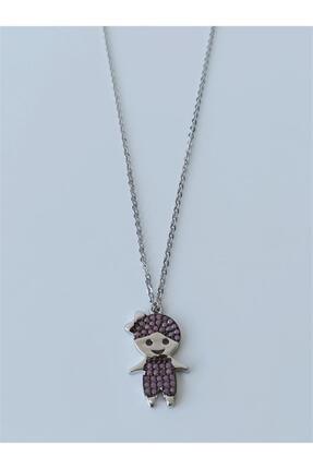 Kadın Gümüş Pembe Zirkon Taşlı Kız Bebek Kolye 00610