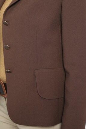 Journey Kadın Kahverengi Mono Yaka Geniş Kapak Cepli Ceket 2