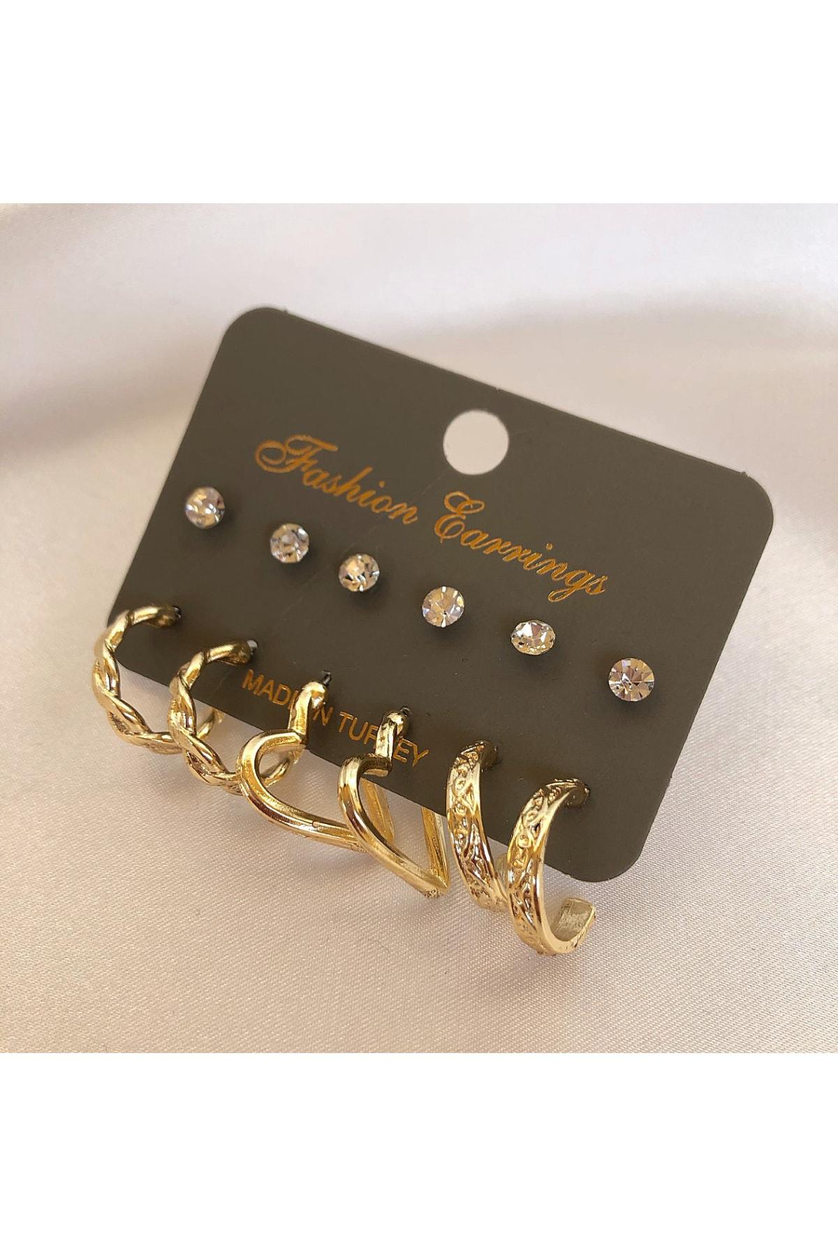 6 Çift Set Küpe Gold