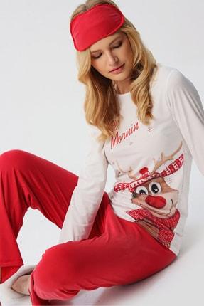 Trend Alaçatı Stili Kadın Beyaz Uyku Bantlı Bisiklet Yaka Yılbaşı Geyik Baskılı Pijama Takım ALC-X5319 3