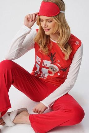 Trend Alaçatı Stili Kadın Kırmızı Uyku Bantlı Bisiklet Yaka Yılbaşı Geyik Baskılı Pijama Takım ALC-X5318 0