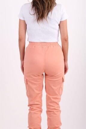 AYSL BUTİK Kadın Somon Beli ve Paçası Lastikli Kargo Pantolon 4