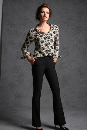 Jument Kadın Kalın Kemerli Cepli Ispanyol Bol Paça Likralı Kumaş Pantolon-siyah 1