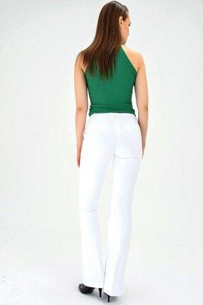 Jument Kalın Kemerli Cepli Ispanyol Bol Paça Likralı Kumaş Pantolon-beyaz 2
