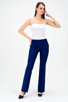 Jument Kalın Kemerli Cepli Ispanyol Bol Paça Likralı Kumaş Pantolon-indigo 0