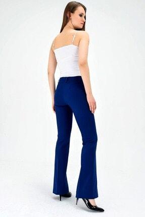 Jument Kalın Kemerli Cepli Ispanyol Bol Paça Likralı Kumaş Pantolon-indigo 3