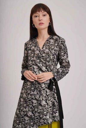 Mizalle Kadın Beyaz Jakarlı Bağlamalı Kimono 2