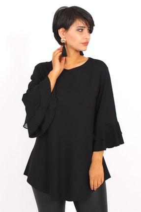 Picture of Kadın Siyah  Büyük Beden Volanlı Bluz