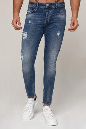 Erkek Mavi Yırtık Dar Paça Slim Fit Kot Pantolon 3std02089-003 3STD02089-003