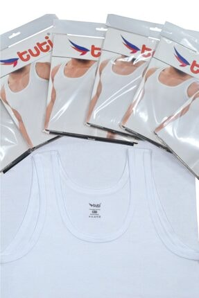 Tuti Underwear Erkek Beyaz Pamuk 6 Adet Klasik Penye Erkek Atlet 1