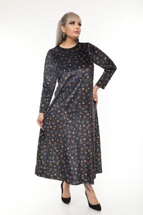 Şirin Butik Büyük Beden Yaka Pervazlı Kadife Elbise 3