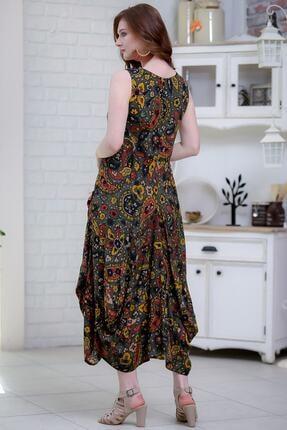 Chiccy Kadın Yeşil Bohem Şal Desenli Püsküllü Cep Detaylı Asimetrik Salaş Dokuma Elbise M10160000el97262 4