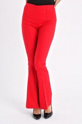 Jument Kadın Kırmızı Ön Arka Dikişli Ispanyol Paça Tayt Pantolon 2