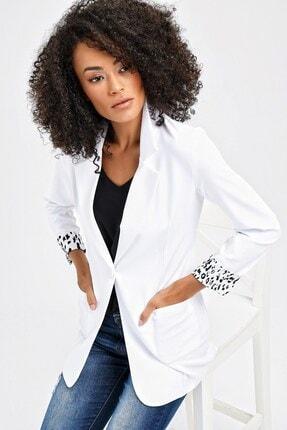 Jument Yakalı Cepli Uzun Kol Katlamalı Blazer Kumaş Ceket-beyaz 2