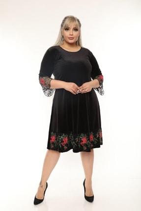Şirin Butik Kadın Siyah Büyük Beden Çiçek Detaylı Kadife Elbise 3