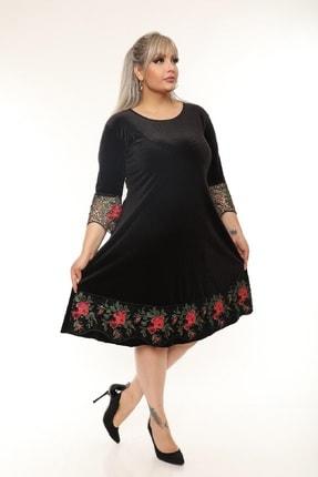 Şirin Butik Kadın Siyah Büyük Beden Çiçek Detaylı Kadife Elbise 4