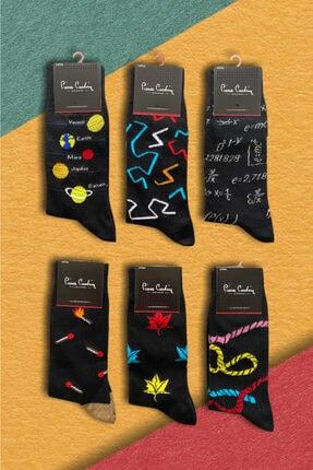 Pierre Cardin 6 'lı Erkek Desenli Neşeli Pamuk Çorap 0