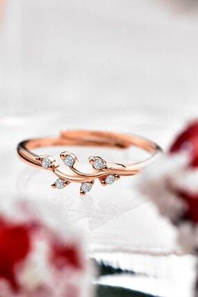 jelux silver Minimalist Zirkon Taşlı Ayarlanabilir Rose Renkli Gümüş Yüzük 0