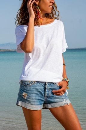 Güneşkızı Kadın Beyaz Sırtı Atlet Detaylı Salaş T-shirt Gk-jr220 1