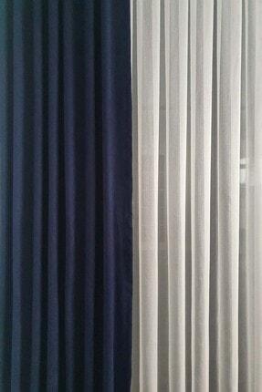 De'Vor Kadife Görünümlü Kalın Fon Perde - Gece Mavisi (150x250) 0