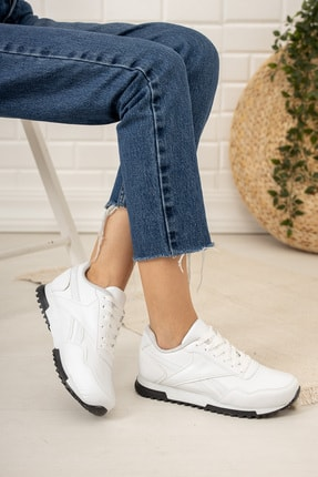 Moda Değirmeni Kadın Beyaz Siyah Tabanlı Sneaker Md1053-101-0001 2